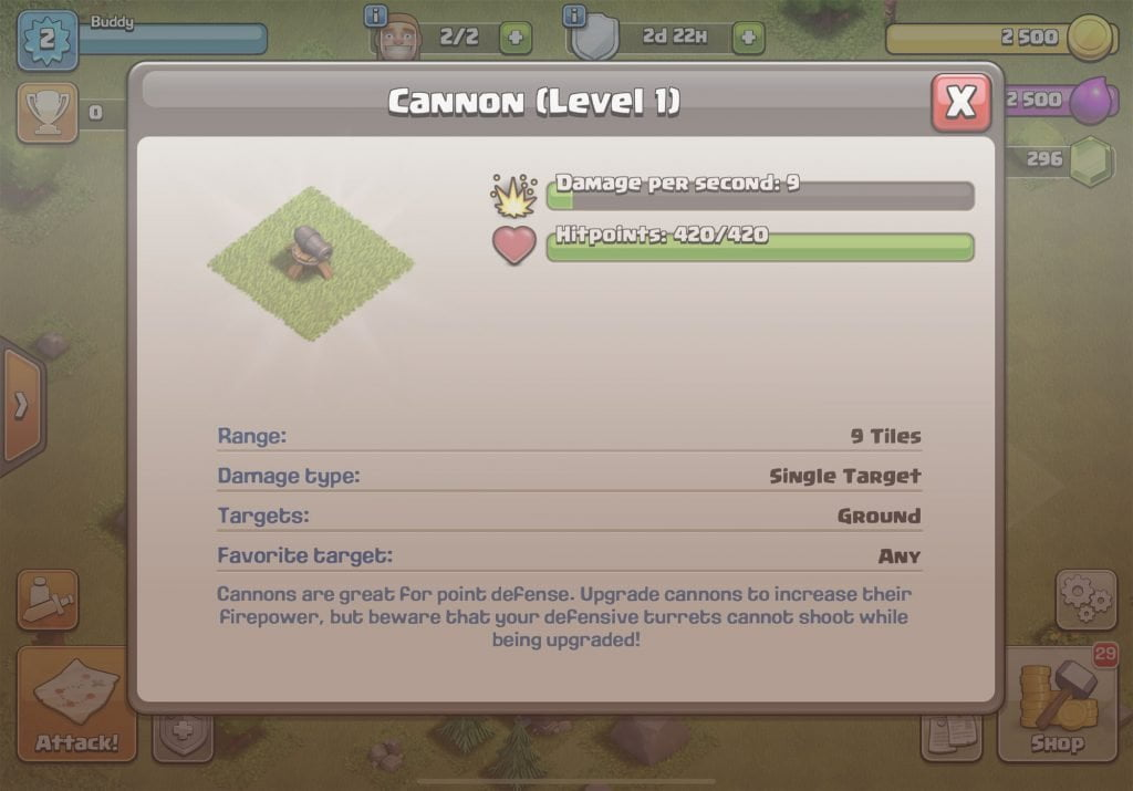 Clash of Clans Cannon Info