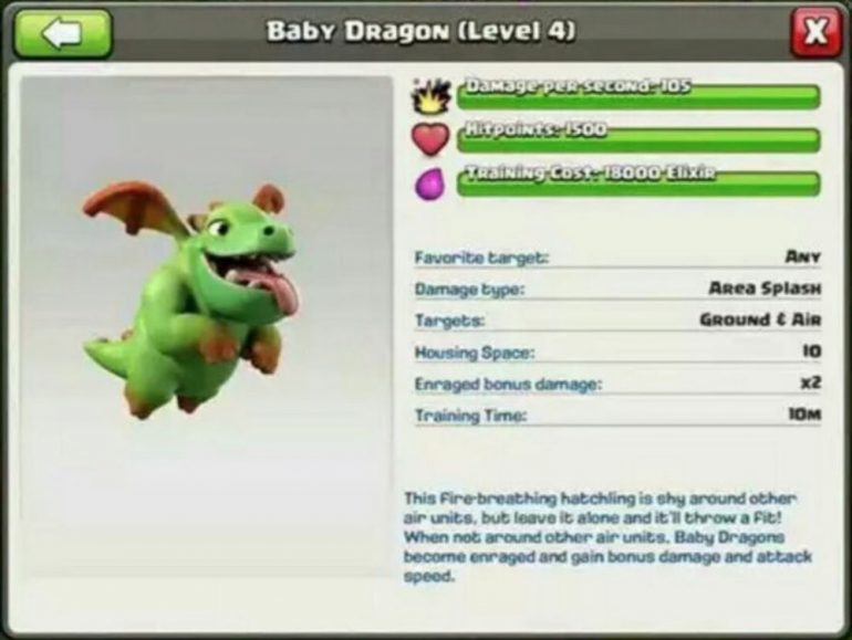 Clash of Clans Baby Dragon Stats