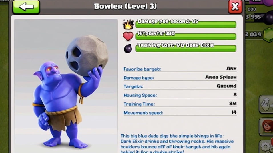 Clash of Clans Bowler Stats