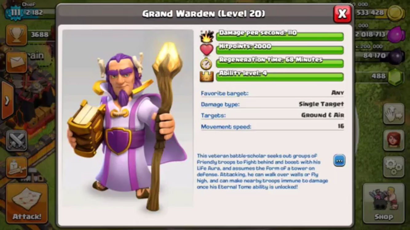 Clash of Clans Grand Warden Altar Stats