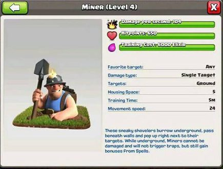 Clash of Clans Miner Stats